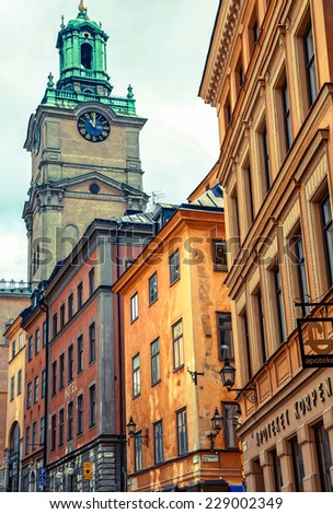 STOCKHOLM, SWEDEN - AUGUST 3: Colorful houses in the centre of the city Stockholm  on August 3, 2012 in Stockholm - stock photo