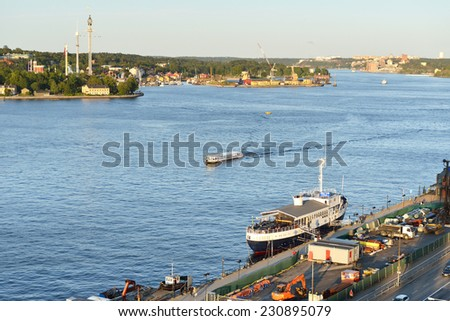 STOCKHOLM, SWEDEN - AUGUST 24,2014:Stockholm is capital of Sweden and most populous city in Scandinavia. City is spread on coast in south-east of Sweden at mouth of Lake, by archipelago and Baltic sea - stock photo
