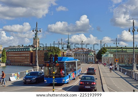 STOCKHOLM, SWEDEN - AUGUST 25, 2014:Vasabron is bridge over Norrstrom in central Stockholm, Sweden connecting Norrmalm to Gamla stan, old city. Bridge is named after King Gustav Vasa - stock photo