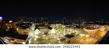 STOCKHOLM/SWEDEN - CIRCA OCTOBER 2010 - The Night view of Ryssgarden square and Stadsmuseum.