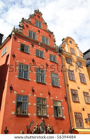 Stockholm, Sweden. Famous old buildings at Stortorget square at Gamla Stan (the Old Town), Stadsholmen island. - stock photo