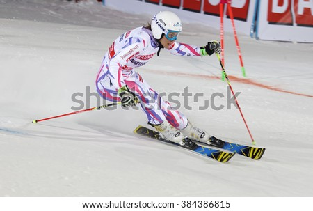 STOCKHOLM, SWEDEN - FEB 23, 2016: Closeup of Nastasia Noens (FRA) skiing at the FIS Alpine Ski World Cup - Men's and Woman's city event February 23, 2016, Stockholm, Sweden - stock photo