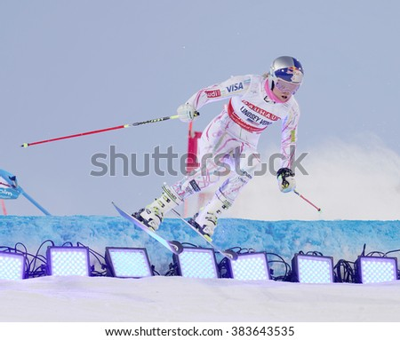 STOCKHOLM, SWEDEN - FEB 23, 2016: Lindsey Vonn (USA) jumping at the FIS Alpine Ski World Cup - Men's and Woman's city event February 23, 2016, Stockholm, Sweden - stock photo