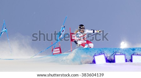 STOCKHOLM, SWEDEN - FEB 23, 2016: Skier Lara Gut (SUI) at the FIS Alpine Ski World Cup - city event February 23, 2016, Stockholm, Sweden - stock photo