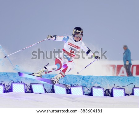 STOCKHOLM, SWEDEN - FEB 23, 2016: Skier Lara Gut (SUI) jumping at the FIS Alpine Ski World Cup - city event February 23, 2016, Stockholm, Sweden - stock photo