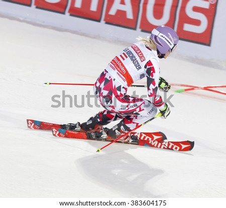 STOCKHOLM, SWEDEN - FEB 23, 2016: Skier Michaela Kirchgasser (AUT) at the FIS Alpine Ski World Cup - city event February 23, 2016, Stockholm, Sweden - stock photo