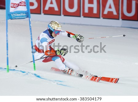 STOCKHOLM, SWEDEN - FEB 23, 2016: Skier Michelle Gisin (SUI) at the FIS Alpine Ski World Cup - city event February 23, 2016, Stockholm, Sweden - stock photo