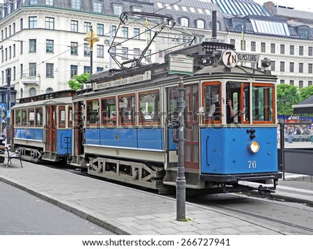 Stockholm, Sweden - July 30, 2014: Old historic tram at Stockholm