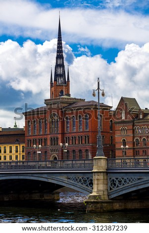 STOCKHOLM, SWEDEN - JULY 08, View on the Part of the Old Town (Gamla Stan) in Stockholm, Sweden - stock photo