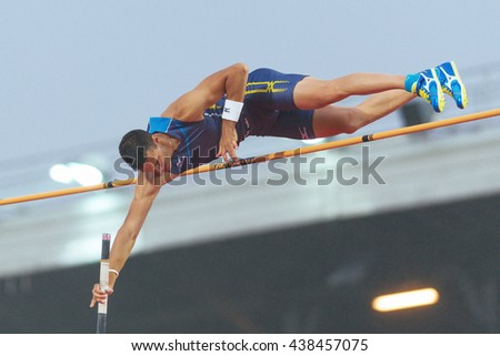 STOCKHOLM, SWEDEN - JUNE 16, 2016: Konstantinos Filippidis in the mens pole vault at the IAAF Diamond League in Stockholm. - stock photo