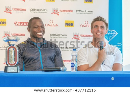 STOCKHOLM, SWEDEN - JUNE 15, 2016: Press conferance at IAAF Diamond League in Stockholm with Kim Amb and Julius Yego. Javelin throw - stock photo