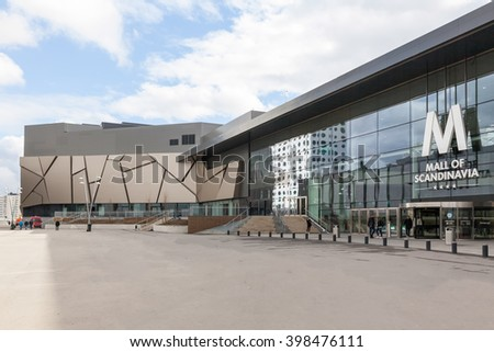 Stockholm, Sweden - Mar 30, 2016 : Entrance of Mall of Scandinavia, one of the biggest shopping mall in Nordic.