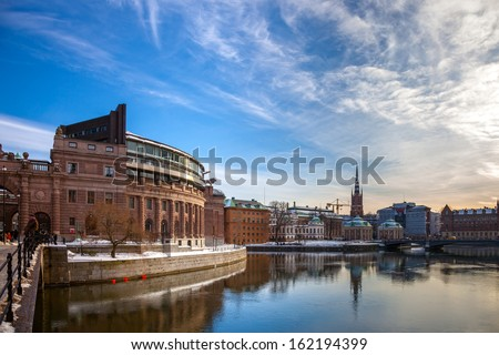 STOCKHOLM, SWEDEN - MARCH 7: View of Sweden Riksdag on March 7, 2010 in Stockholm, Sweden. The Riksdag building is the seat of the Swedish Parliament and located on Helgeandsholmen island.