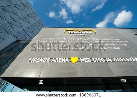 STOCKHOLM, SWEDEN - MAY 11: Detail of Friends Arena on the eve of Bruce Springsteen's concert on May 11, 2013 in Stockholm. Friends arena is the new multi-purpose national arena of Sweden.
