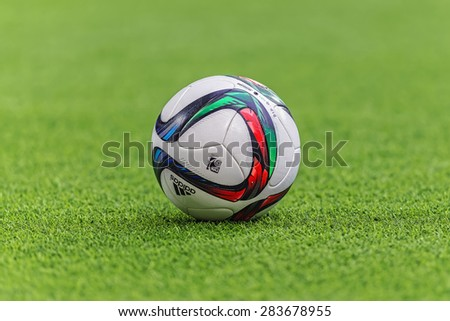 STOCKHOLM, SWEDEN - MAY 25: Offical football in the swedish Allsvenskan and the football used by DIF and AIK during evening on May 25, 2015. Tele2 arena is a new multipurpose arena in Stockholm. - stock photo