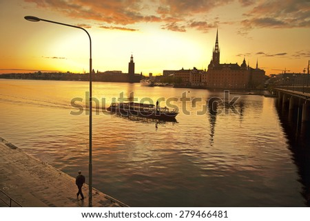 STOCKHOLM, SWEDEN - May 18, 2015. Sunset in Stockholm city.  - stock photo