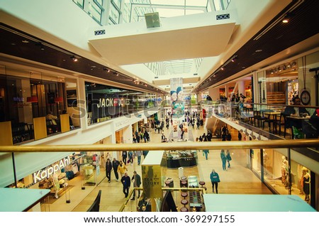 STOCKHOLM, SWEDEN - MAY 26, 2015:  The main Stockholm shopping center Galerian with lot of people