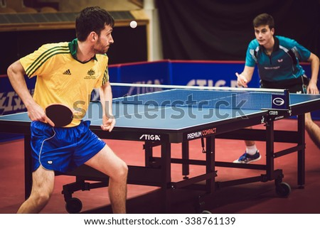 STOCKHOLM, SWEDEN - NOV 11, 2015: Table tennis tournament SOC at the arena Eriksdalshallen. Swedish Open Championships - stock photo