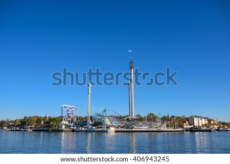 STOCKHOLM, SWEDEN - OCTOBER 12, 2015: Amusement park with attractions and rides on Djurgarden island in Stockholm, Sweden - stock photo
