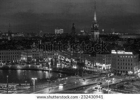 Stockholm, Sweden - October 31: Night view of the capital city of Stockholm, Sweden on October 31, 2014.