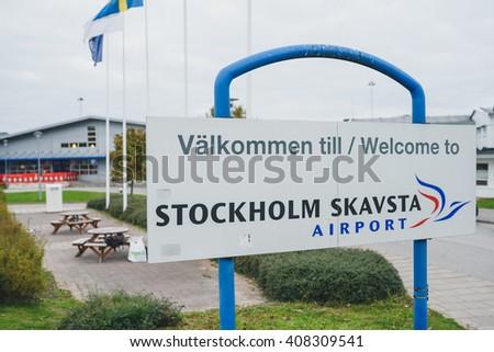 STOCKHOLM, SWEDEN - OCTOBER 13, 2015: Skavsta airport near Stockholm. Skavsta is a hub of low cost airlines. - stock photo