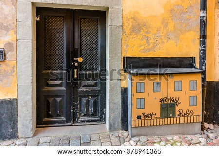 STOCKHOLM, SWEDEN - OCTOBER 8, 2015: Street view in the Stockholm old town. Stockholm is the capital of Sweden and the most populous city in the Northern Europe.