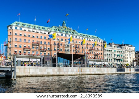 STOCKHOLM, SWEDEN - SEPTEMBER 7, 2014: Architecture in the centre of Stockholm, Sweden.Stockholm is the capital of Sweden and the most populous city in Scandinavia, and a popular touristic destination