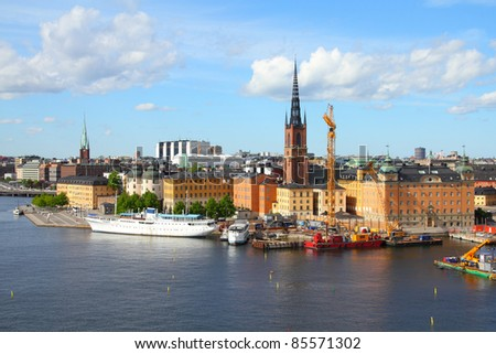 Stockholm, Sweden. View of famous Gamla Stan (the Old Town), Riddarholmen island. Restaurant and hotel ship. - stock photo