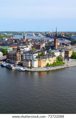 Stockholm, Sweden. View of famous Gamla Stan (the Old Town), Stadsholmen island. - stock photo