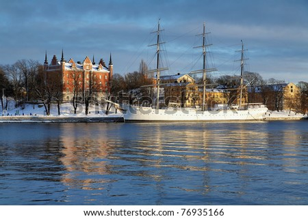 Stockholm, The Admiralty House and the af Chapman Ship at the Skeppsholmen Island in winter, Sweden - stock photo