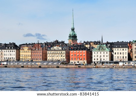Stockholm. View of the Old Town embankment with beautiful historic  buildings