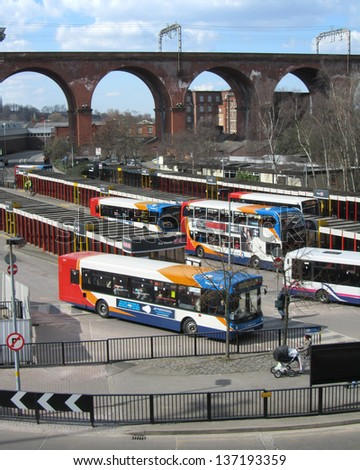 STOCKPORT, ENGLAND, MARCH 4: Bus Station and railway viaduct in Stockport on March 4th 2013. The bus terminus provides around 65 bus services in the Greater Manchester area. The viaduct opened in 1840