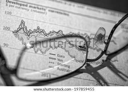 Stocks and shares Trading. Pair of glasses on top of a currency trading report. Small amount of added grain. - stock photo