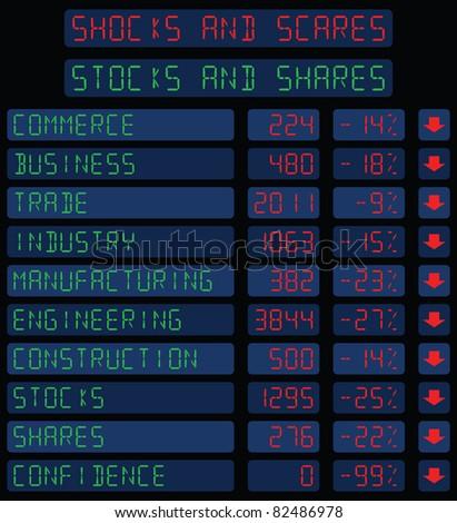 Stocks and Shares turn to Shocks and Scares - stock photo