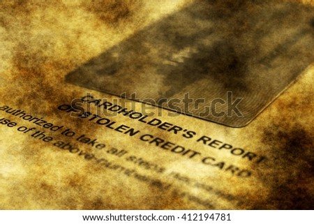 Stolen card report grunge concept - stock photo
