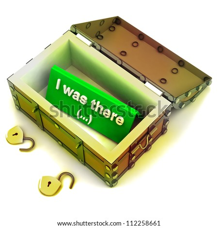 Stolen treasure from opened  antique chest with text inside on green render illustration - stock photo