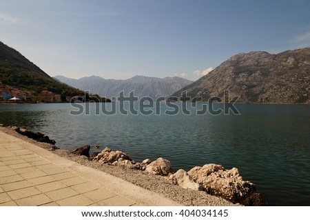 Stoliv and Perast on the coast of the Bay of Kotor in Montenegro.  - stock photo