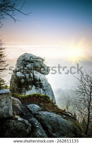 Stolowe Mountains National Park in Kudowa-Zdroj, Poland. - stock photo