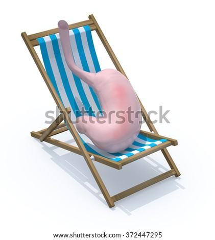 stomach tired they rest on beach chair, 3d illustration - stock photo