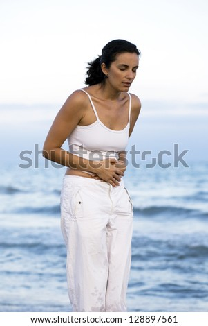 Stomachache on holidays - stock photo