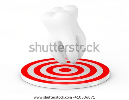 Stomatology concept. Tooth over Target on a white background. 3d Rendering - stock photo