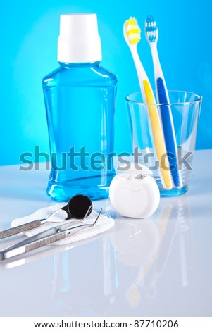 stomatology equipment and dental care - stock photo