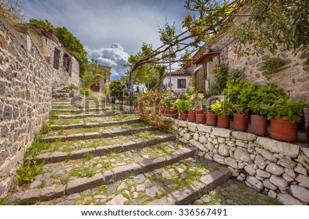 Stone alleyway with green plants in the village of Molyvos, Lesbos, Greece - stock photo