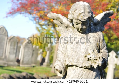 Stone angel in cemetery in autumn  - stock photo
