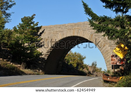 Stone arch bridge in Acadia National Park - stock photo