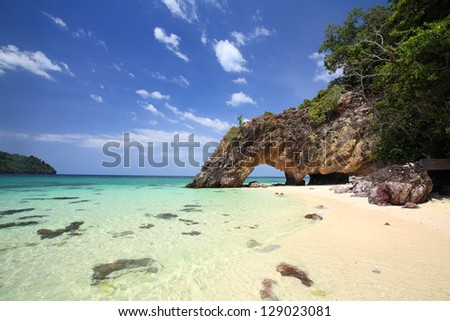 Stone arch scenic at Khai island near Koh Lipe and Tarutao national park in Satun Province, the southern of Thailand