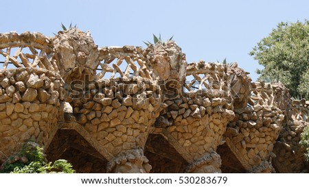 Stone architectural elements in park Guell in Barcelona, Spain, July 2016