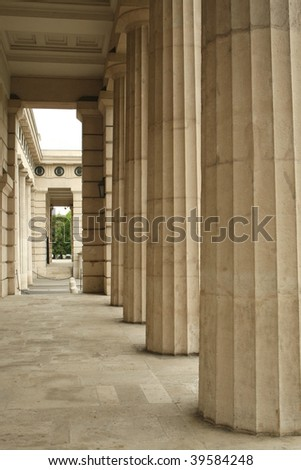 Stone archway in old building - stock photo