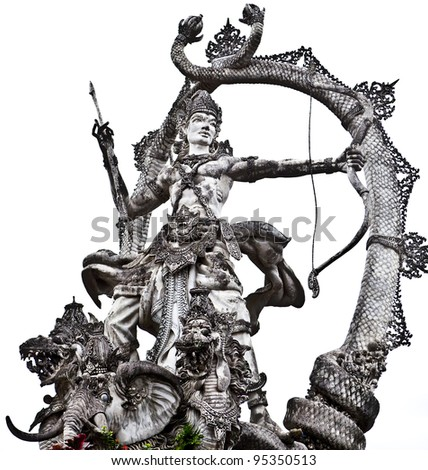 Stone Balinese sculpture. Isolated on white.
