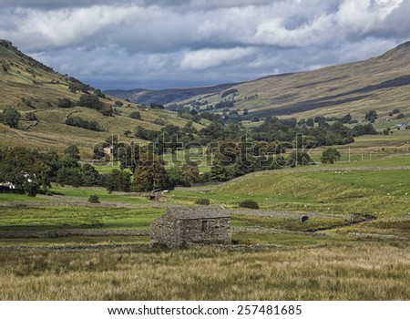 Stone barn and dry stone walls near Muker, Swaledale - stock photo